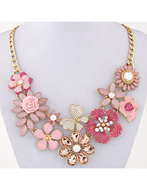 Luxury Pink Gemstone Decorated Flower Design