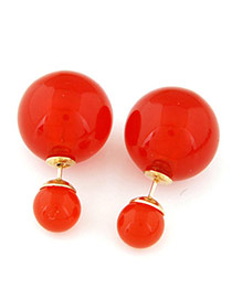 Candy Color  Red Round Shape Decorated Simple Design  Alloy Stud Earrings