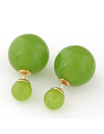 Candy Color  Green Round Shape Decorated Simple Design  Alloy Stud Earrings