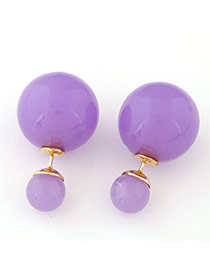 Candy Color Purple Round Shape Decorated Simple Design Alloy Stud Earrings