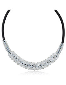 Magnificent White Beads Decorated Weace Design Alloy Korean Necklaces