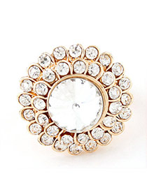 Sweet White Diamond Decorated Round Shape Design  Alloy Korean Rings