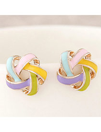 Trendy Multicolor Flower Shape Decorated Simple Design Alloy Stud Earrings