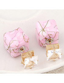 Luxury Pink Gemstone Decorated Square Shape Design Alloy Stud Earrings
