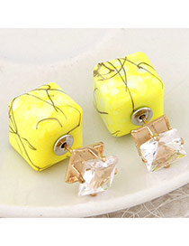 Luxury Yellow Gemstone Decorated Square Shape Design Alloy Stud Earrings