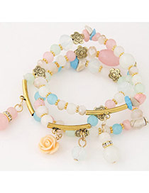 Candy Color Multicolor Beads Decorated Multilayer Design Alloy Korean Fashion Bracelet
