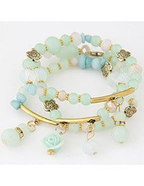Candy Color Light Green Beads Decorated Multilayer Design