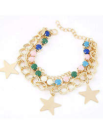 Fashion Multicolor Gemstone Decorated Star Shape Design  Alloy Korean Fashion Bracelet