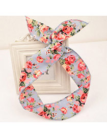 Classy Light Blue Flower Pattern Simple Design Fabric Hair band hair hoop