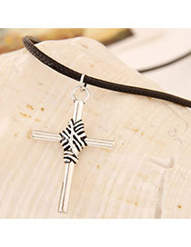 Classic Silver Color Cross Shape Pendant Decorated Simple Design Alloy Chains