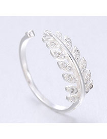 Vivid Silver Color Leaf Shape Simple Design  Cuprum Korean Rings