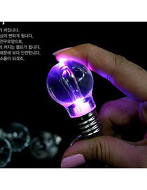 Creative Silver Color Bulb Shape Decorated Simple Design  Electronic Fashion Keychain