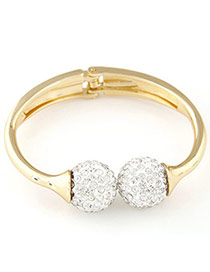 Temperament White&gold Color Ball Shape Decorated Simple Design  Alloy Fashion Bangles