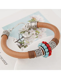 Personality Brown Metal&beads Decorated Leather Design  Alloy Korean Fashion Bracelet