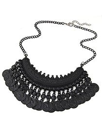Ethnic Black Coins Tassel Decorated Fan Shape Design Alloy Bib Necklaces