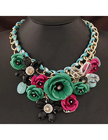 Extravagant Green&black Flower Pendant Decorated Short Chain Design Alloy Bib Necklaces