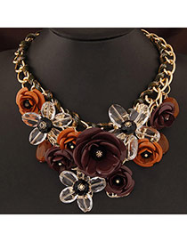 Extravagant Coffee&dark Yellow Flower Pendant Decorated Short Chain Design Alloy Bib Necklaces
