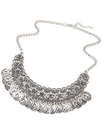 Ethnic Anti-silver Coins Tassel Decorated Hollow Out Fan Shape Design  Alloy Korean Necklaces