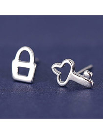 Korean Silver Color Sweet Key & Lock Shape Unsymmetrical Design  Cuprum Stud Earrings