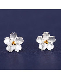 Korean Silver Color Sweet Flower Shape Simple Design  Cuprum Stud Earrings