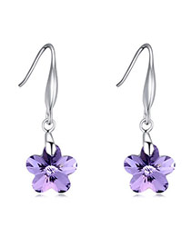 Exquisite Violet Wintersweet Shape Decorated Simple Design  Cuprum Crystal Earrings
