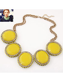 Extravagant Yellow Gemstone Decorated Short Chain Design Alloy Bib Necklaces