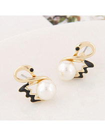 Exquisite Black Pearl Decorated Swan Shape Design Alloy Stud Earrings