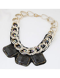 Occident Black Square Gemstone Decorated Short Chain Design