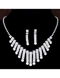 Shiny Silver Color Diamond Decorated Rectangle Shape Design