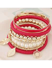 Fashion Plum Red Multielement Pendant Decorated Multilayer Design  Alloy Korean Fashion Bracelet