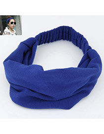 Casual Blue Pure Color Wide Simple Design  Fabric Hair band hair hoop