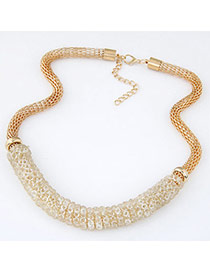Swanky Gold Color Diamond Decorated Short Chain Design Alloy Bib Necklaces