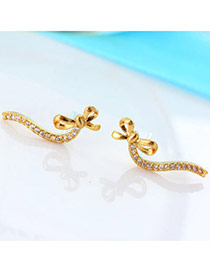 Exquisite Gold Color Diamond Decorated Bowknot Shape Design(anti-allergy)  Cuprum Stud Earrings