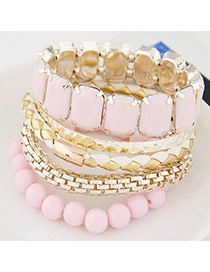Exquisite Pink Gemstione Decorated Multilayer Design Alloy Fashion Bangles
