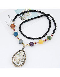 Fashion White Beads Decorated Waterdrop Shape Pendant Design Alloy Bib Necklaces
