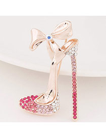 Exquisite Plum Red Bowknot Decorated High-heeled Shape Design  Alloy Korean Brooches