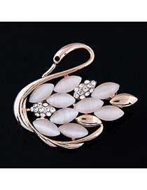 Exquisite Light Pink Diamond Decorated Swan Shape Design Alloy Korean Brooches