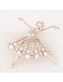 Exquisite Gold Color Diamond Decorated Dancing Girl Shape Design  Alloy Korean Brooches