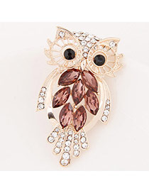 Exquisite Coffee Diamond Decorated Owl Shape Design  Alloy Korean Brooches