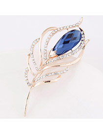 Exquisite Blue Diamond Decorated Leaf Shape Design  Alloy Korean Brooches