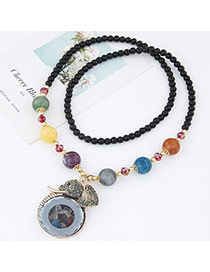 Fashion Multicolor Beads Decorated Elephant Pendant Design Alloy Bib Necklaces