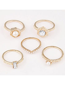 Exquisite Gold Color Diamond & Pearl Decorated Simple Design (5pcs)