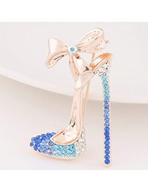 Exquisite Blue Bowknot Decorated High-heeled Shape Design  Alloy Korean Brooches