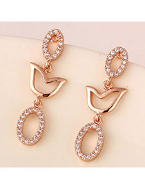 Personalized Rose Gold Diamond Decorated Oval Design(anti-allergy)  Cuprum Stud Earrings
