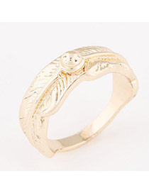 Trendy Gold Color Feather Pattern Decorated Simple Design Alloy Korean Rings