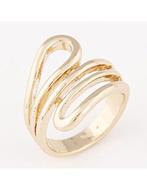 Personalized Gold Color Geometrical Shape Simple Design  Alloy Korean Rings