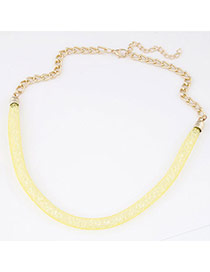 Trendy Yellow Diamond Decorated Hollow Out Design  Alloy Korean Necklaces