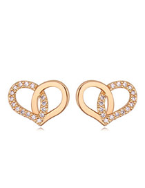 Swanky Gold Color Diamond Decorated Heart Shape Design  Cuprum Crystal Earrings