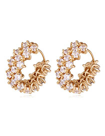 Classy Gold Color Diamond Decorated Simple Design  Cuprum Crystal Earrings