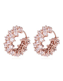 Classy Rose Gold Diamond Decorated Simple Design  Cuprum Crystal Earrings